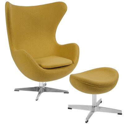 Vinod Swivel Lounge Chair and Ottoman Upholstery: Citron