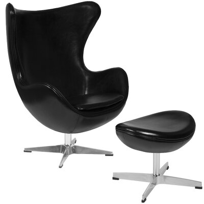 Violeta Swivel Lounge Chair and Ottoman Upholstery: Black