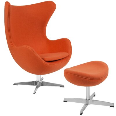 Vinod Swivel Lounge Chair and Ottoman Upholstery: Orange