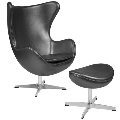 Violeta Swivel Lounge Chair and Ottoman Upholstery: Gray