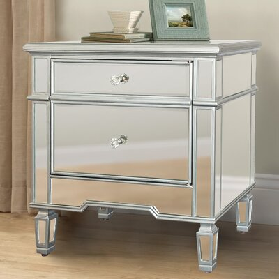 Nabors Mirrored 2 Drawer Nightstand
