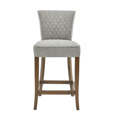 Highline Quilted Bar Stool Upholstery: Light Gray