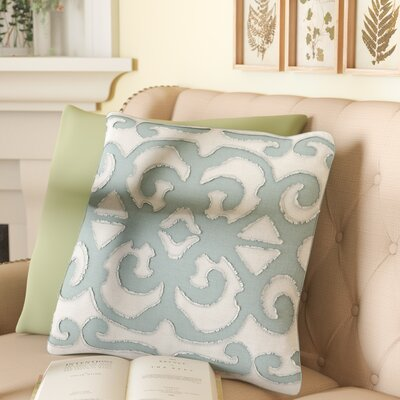 Estelle Linen Pillow Cover Color: Teal/light Gray, Size: 18 x 18