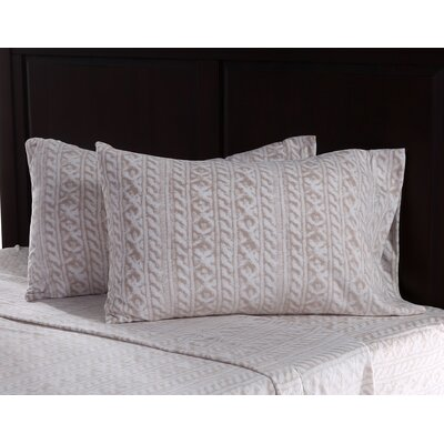 Knit Print Microfleece Sheet Set Size: Full, Color: Linen