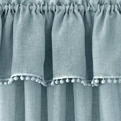 Osio Pom Pom Solid Rod Pocket Single Curtain Panel