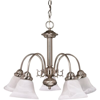 Kaufman 5-Light Candle-Style Chandelier Shade Color: Alabaster, Finish: Brushed Nickel