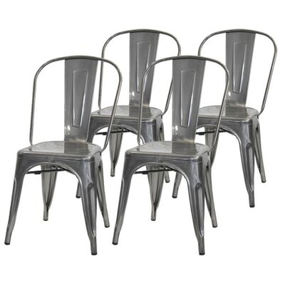 Helsley Cafe Dining Chair (Set of 4) Color: Gray