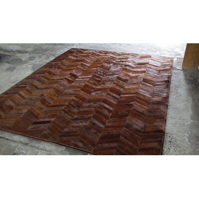 One-of-a-Kind Belle Haven Patchwork Hand-Woven Cowhide Brown Area Rug