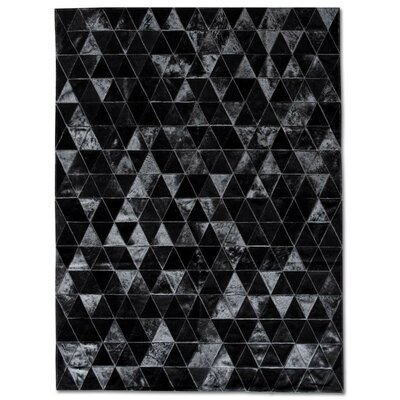 One-of-a-Kind Bellefonte Patchwork Hand-Woven Cowhide Black Area Rug