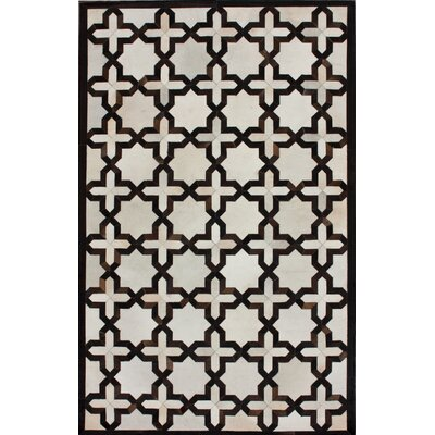 One-of-a-Kind Mayton Patchwork Hand-Woven Cowhide Black/White Area Rug