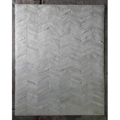 One-of-a-Kind Belleville Patchwork Hand-Woven Cowhide Off White Area Rug