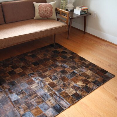 One-of-a-Kind Bellaire Patchwork Hand-Woven Cowhide Brown Area Rug