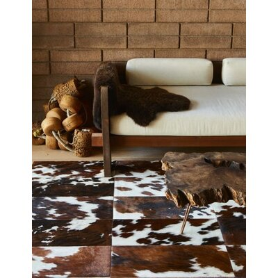 One-of-a-Kind Beechwood Patchwork Hand-Woven Cowhide Brown/Black Area Rug