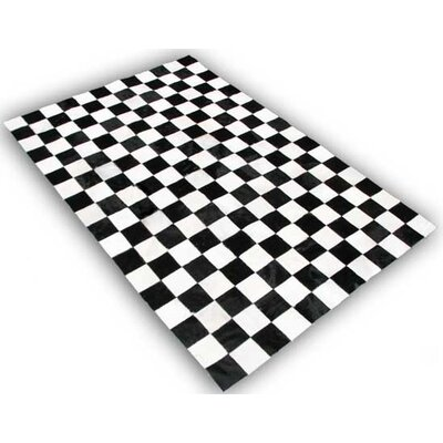One-of-a-Kind Theim Patchwork Hand-Woven Cowhide Black/White Area Rug