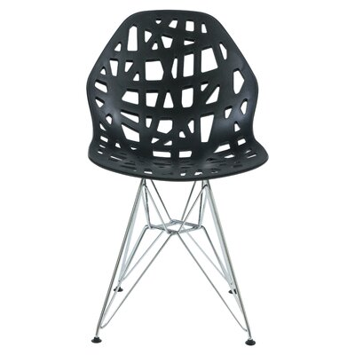 Mayville Molded Dining Chair Color: Black/Silver