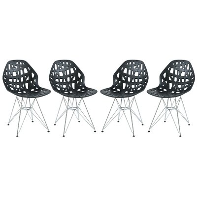 Mayville Molded Dining Chair Color: Black/White