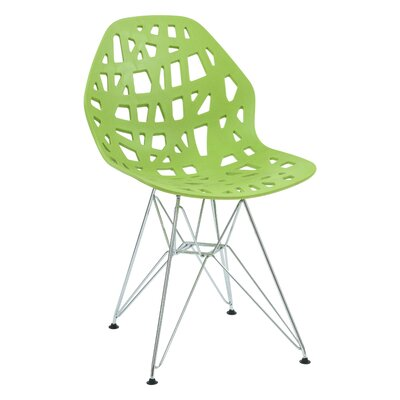 Mayville Molded Dining Chair Color: Green/Silver