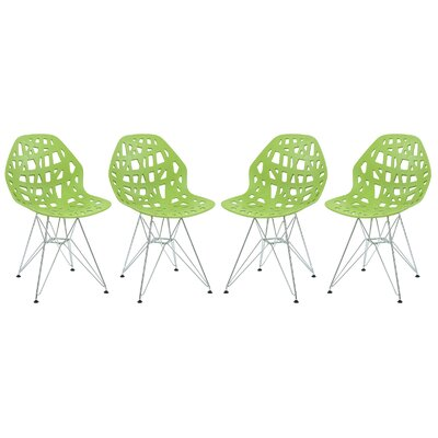Mayville Molded Dining Chair Color: Green/White