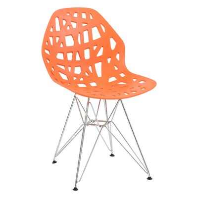 Mayville Molded Dining Chair Color: Orange/Silver