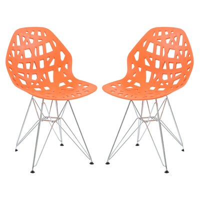 Mayville Molded Dining Chair Color: Orange/White