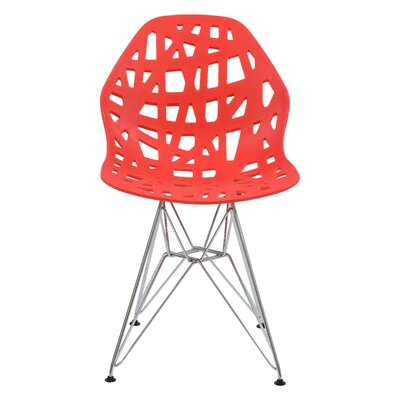 Mayville Molded Dining Chair Color: Red/Silver