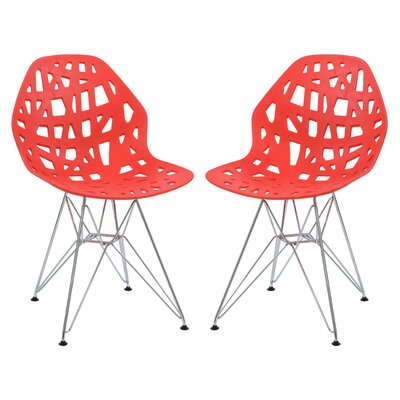 Mayville Molded Dining Chair Color: Red/White