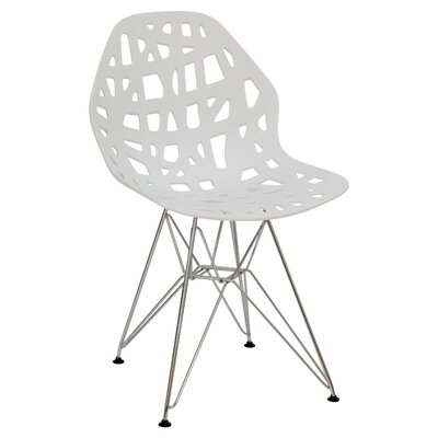 Mayville Molded Dining Chair Color: White/Silver