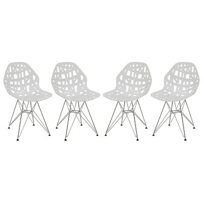 Mayville Molded Dining Chair Color: White/White