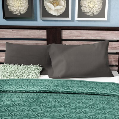 Alysia Collection  Microfiber Pillowcase Color: Graphite Gray, Size: King
