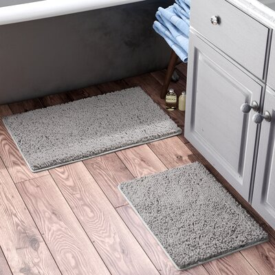 Gallia 2 Piece Bath Rug Set Color: Gray