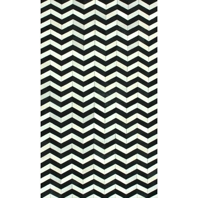 One-of-a-Kind Favermann Patchwork Hand-Woven Cowhide Black/White Area Rug