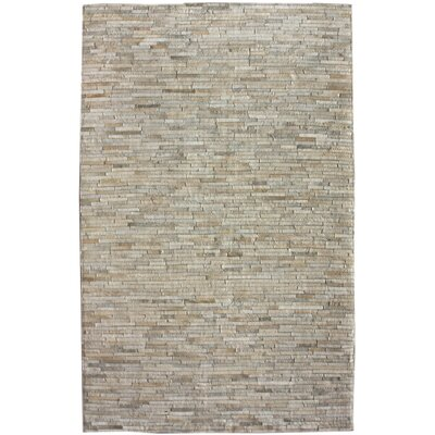 One-of-a-Kind Bellevue Patchwork Hand-Woven Cowhide Off White Area Rug