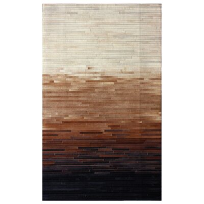 One-of-a-Kind Bellingdon Patchwork Hand-Woven Cowhide Brown Area Rug