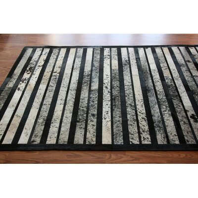 One-of-a-Kind Belford Patchwork Hand-Woven Cowhide Black/Off White Area Rug