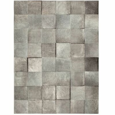 One-of-a-Kind Bellomy Patchwork Hand-Woven Cowhide Gray Area Rug