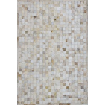 One-of-a-Kind Klahr Hand-Woven Cowhide Off White Area Rug Rug Size: Rectangle 4 x 6