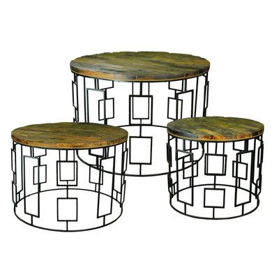 Hallett Wooden 3 Piece Coffee Table Set