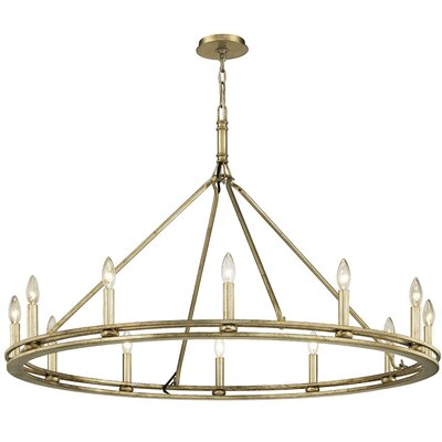 Teixeira 12-Light Candle-Style Chandelier Finish: Champagne Silver Leaf
