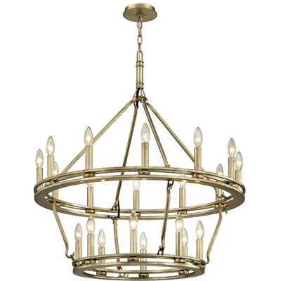Teixeira 20-Light Candle-Style Chandelier Finish: Champagne Silver Leaf, Size: 108.25 H x 32 W x 32 D