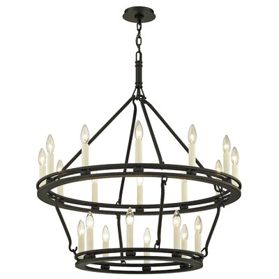 Teixeira 20-Light Candle-Style Chandelier Finish: Textured Black, Size: 108.25 H x 32 W x 32 D
