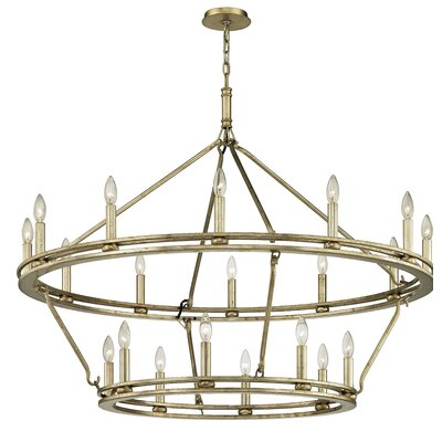 Teixeira 20-Light Candle-Style Chandelier Finish: Champagne Silver Leaf, Size: 110.25 H x 44 W x 44 D