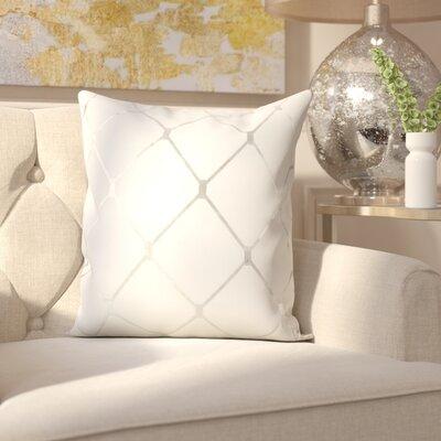 Sawyer Metallic Diamond 100% Cotton Throw Pillow Color: Silver