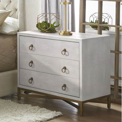 Ormside Shagreen 3 Drawer Nightstand Color: White