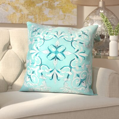 Hepworth Embroidery Velvet Throw Pillow Color: Turquoise