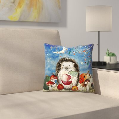 Sleepy Hedgehog in Autumnal Forest Throw Pillow Size: 16 x 16