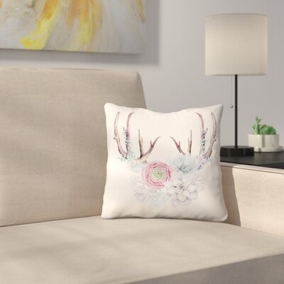 Antlers and Flower Throw Pillow Size: 18 x 18