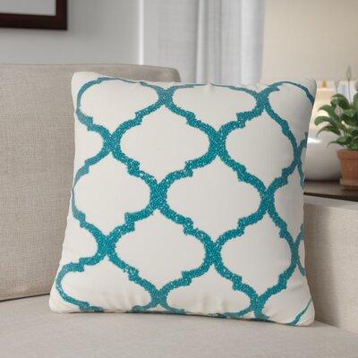 Hensen Moroccan Design Beaded 100% Cotton Throw Pillow Color: Teal
