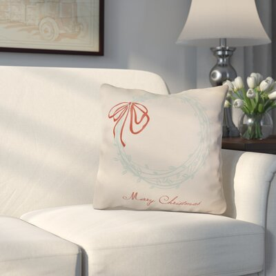 Decorative Holiday Word Print Outdoor Throw Pillow Size: 18 H x 18 W, Color: Aqua
