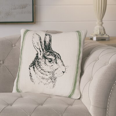 Gustafson Bunny Feed Sack Cotton Throw Pillow