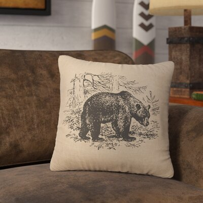 Nailwell Bear Scene Throw Pillow Color: Natural